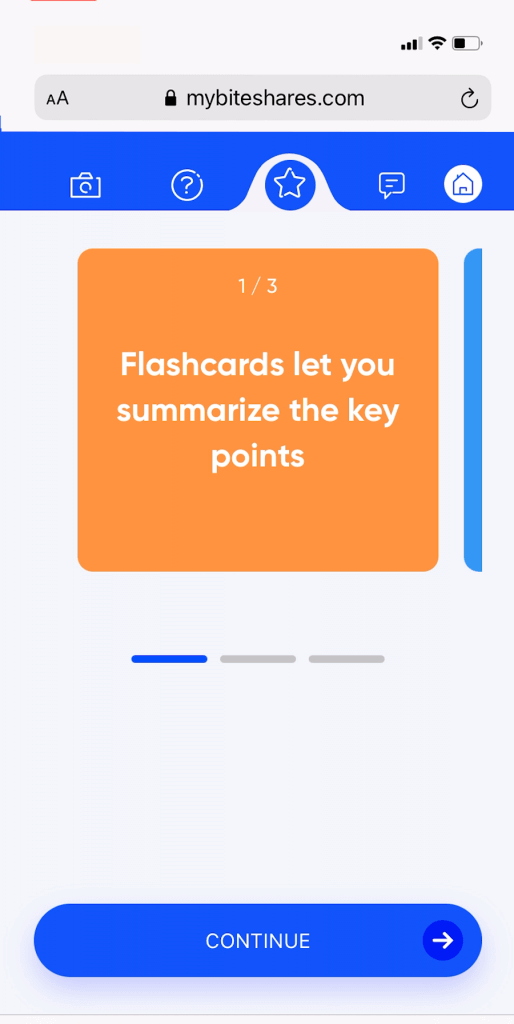 Bites flash card