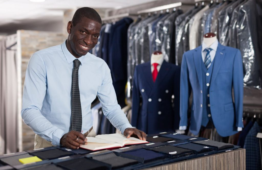clothing store employee in formal outfit